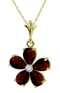 14K Yellow Gold Flower Necklace with Natural pear-shaped Garnets $218.45, also white gold $223.70 (Jan Them)
