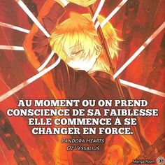 In the intervening time when one turns into conscious of weak spot, it begins to alter in energy. Manga Anime, Anime Hair, Positive And Negative, Positive Attitude, Pandora Hearts, The Moment You Realize, In This Moment, Manga Quotes, French Quotes