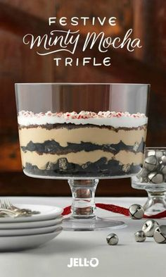 Mint, chocolate and coffee together have been wowing taste buds forever, but Festive Minty Mocha Trifle presents this classic dessert trio in a new and elevated way. And with just three steps, preparation is a cinch. Start with JELL-O Vanilla Flavor Insta Trifle Desserts, Just Desserts, Delicious Desserts, Dessert Recipes, Yummy Food, Kraft Recipes, Holiday Baking, Christmas Desserts, Christmas Baking
