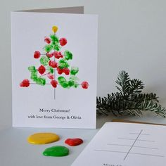 10 Personalised Finger Paint Christmas Cards is part of Christmas painting Eyfs lower case as we will print exactly as the text appears If you have any questions, please contact us The reverse of - Painted Christmas Cards, Personalised Christmas Cards, Christmas Card Crafts, Preschool Christmas, Toddler Christmas, Christmas Activities, Homemade Christmas, Kids Christmas, Holiday Crafts