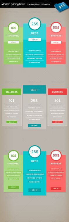 4 Pricing Tables UI\/UX Pinterest Pricing table, Ui design - price chart template