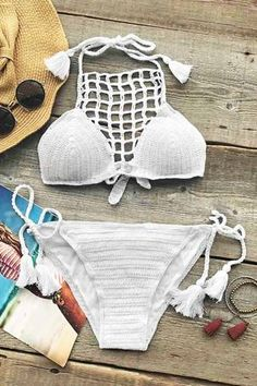 c9d3dbe8d046e Cupshe Look At Things Differently Crochet Bikini Set Swimming Costume For  Ladies