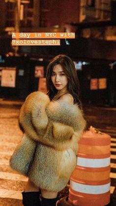 Generation Photo, Girls Generation, Snsd Tiffany, Tiffany Hwang, Asian Woman, Asian Girl, Fox Fur Coat, Fur Coats, Stunning Brunette