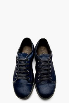 LANVIN Navy Calf-Hair Sneakers