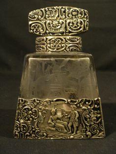 Antique Continental Engraved Glass Cologne Bottle Sterling Silver Mounts   eBay