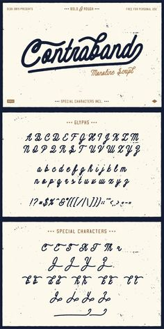 Contraband, from OCDCO, is a FREE monoline script, it comes in two styles (Bold & Rough) and will get the job done for you time and time again. Bold Script Font, Modern Script Font, Script Lettering, Lettering Styles, Calligraphy Fonts, Script Tattoos, Calligraphy Alphabet, Script Type, Serif Font
