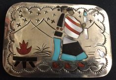 Story Teller Inlay Sterling Native American Indian Belt Buckle (Dead Pawn)