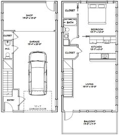 20x40 House -- #20X40H7H -- 1,053 sq ft - Excellent Floor Plans