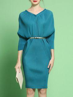 Shop Midi Dresses - Sheath Elegant Plain Batwing Midi Dress online. Discover unique designers fashion at StyleWe.com.