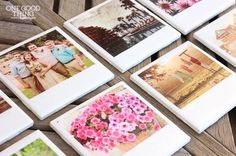 "DIY ""Polaroid"" Photo Coasters Chances are, your mom has plenty of framed photos throughout her home. But, with this DIY project, you can give her a photo gift that won't require her making more space on her shelves or walls. Just select some of her favorite pictures (we recommend a mix of nostalgic childhood memories and more recent prints), and attach them to ceramic tiles, following these tips from One Good Thing, and you'll have awesome, personalized coasters that she can use for years to…"