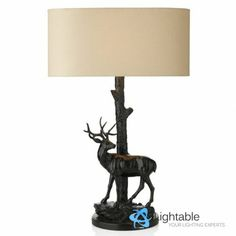 Deer Figure Classic Table Lamp Light With Textured Shade | Lightable