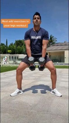 Dumbbell Leg Workout, Leg Day Workouts, Abs Workout Routines, Fit Board Workouts, Workout Videos, Fun Workouts, At Home Workouts, Gym Routine, Daily Gym Workout