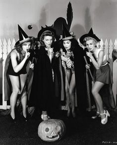 Vintage Hollywood Halloween pin-ups. #vintage #Halloween #witches #costumes