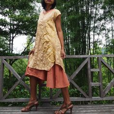 Artistic collectionSunflower dress Mustard/ peach by cocoricooo, $55.00