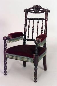 English Victorian Mahogany Spindle Back Childs Arm Chair With Red Velvet Seat