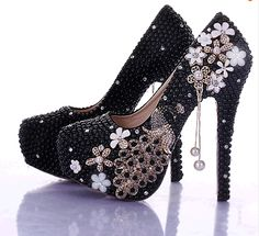 2016 New chegada Black Pearl sapatos de noiva cristal pavão borla plataforma de salto alto sapatos lindos sapatos de casamento Formal vestido(China (Mainland))