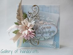 Gallery of handicrafts, Card with flowers Pretty Cards, Cute Cards, Flower Cards, Paper Flowers, Shabby Chic Cards, Mother's Day Greeting Cards, Beautiful Handmade Cards, Scrapbook Cards, Scrapbooking