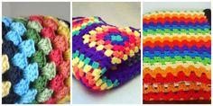 Rainbow granny squares blanket