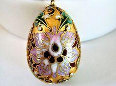 bsessCloisonne Pendant Necklace - Enamel Egg  -  Vintage Cloisonne Egg  VintagObsessions present this gor