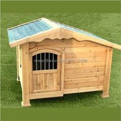 Chalet Style Wooden Dog Kennel with Door by The Cowshed at the Pet-r-us.com