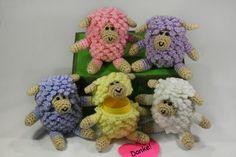 Ü-Pet Schaf häkeln.....Figuren können mit Ü-Ei innen oder auch ohne gemacht werden.... Dinosaur Stuffed Animal, Sewing Patterns, Teddy Bear, Easter, Etsy, Stitch, Knitting, Halloween, Beautiful