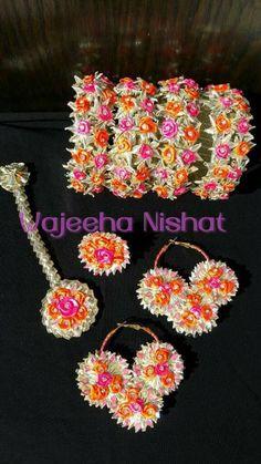 Handmade gota jewellery for mayoon mehndi Flower Jewellery For Mehndi, Diy Fabric Jewellery, Thread Jewellery, Tassel Jewelry, Bridal Jewelry, Flower Jewelry, Handmade Jewellery, Jewellery Designs, Diy Jewelry