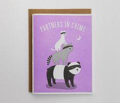 Partners In Crime Letterpress Card