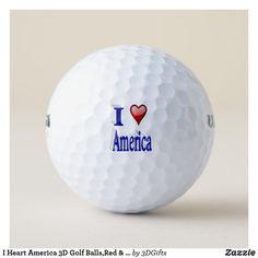 I Heart America 3D Golf Balls,Red & Blue Golf Balls