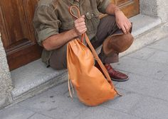 Leather Backpack Cross-body Bag Leather simple Handmade
