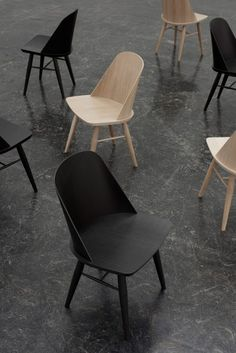 Norwegian designer Falke Svatun has created a dining chair with a thin backrest that curves around its sitter like a shell