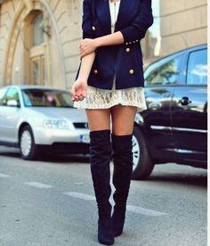 mini-dress, boots, blazer.