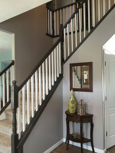Painting and Staining our stair railing part 3 - Done!