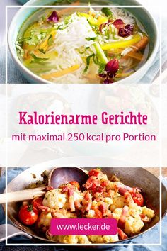 Low calorie recipes - Low calories can also taste really good: from soups and salads to delicious oven and pan dishes, yo - Slow Cooker Recipes, Beef Recipes, Salad Recipes, Vegan Recipes, Cooking Recipes, A Food, Good Food, Food And Drink, Low Calorie Recipes
