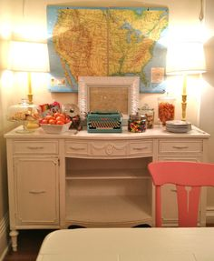 Craft weekend house - love! adorable desk and map area
