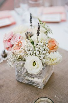 Romantic Rustic Pink White Centerpiece Summer Wedding Flowers Photos & Pictures - WeddingWire.com