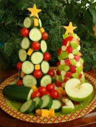 Easy Christmas Craft | Healthy Holiday Fruit and Veggie Trees