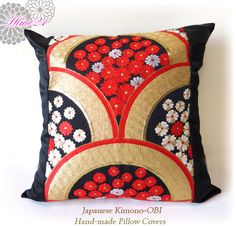 Vintage Japanese Kimono-OBI--pillow case, cushion cover, silk cushion,sofa bedding,embroidery gold,black,red--Made in Japan 003 by Hime21 on Etsy