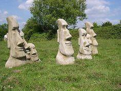 Set 4 Easter #island Moai #statues Tiki #garden Ornament, View More On