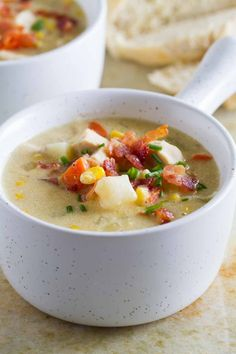 You've all had clam chowder, but what about this New England Chicken Chowder recipe? It combines your favorite New England chowder flavors like potatoes and bacon, but adds in crowd pleasing chicken. This chicken chowder recipe is creamy and comforting!
