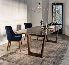 Dining table with emperador marble top and walnut base.- Dining table with emperador marble top and walnut base. Dining table with emperador marble top and walnut base. Kitchen Marble Top, Marble Top Dining Table, White Dining Chairs, Modern Dining Table, Kitchen Wood, Dining Rooms, Kitchen White, Kitchen Ideas, Dining Sets