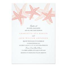 Peach Starfish Beach Wedding Invitation