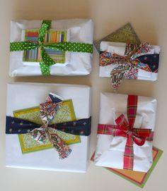 i like the strips of fabric as ribbon idea