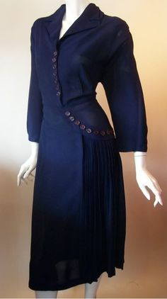 1940's Crepe Rayon Dress: