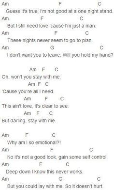 Sam Smith - Stay With Me Chords                                                                                                                                                                                 More