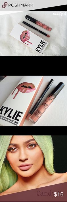 New Kylie Lip Kit in Candy K New and unused. Not swatched. Dupe version. Comes with lip kit box, lip liner and liquid lipstick. Same day shipping. Kylie lip kit. Kylie Cosmetics Makeup Lipstick