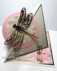 handcrafted greeting card by Linda Dalke: Dragonfly Easel Card .. triange twist format ... pink and gray ... dragonflies die cut from foil ... great card!! ... Stampin'Up!