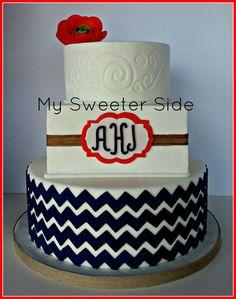 Orange and Navy Wedding Cake