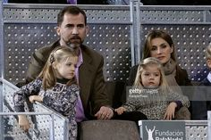 Prince Felipe and Princess Letizia with daughters (L-R) Princess Leonor and Princess Sofia attend Rafael Nadal and Roger Federer's charity match at La Caja Magica on December 22, 2010 in Madrid, Spain.