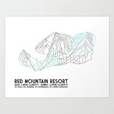 Red Mountain Resort, BC, Canada - Minimalist Trail Art Art Print by CircleSquareDiamond - $16.00