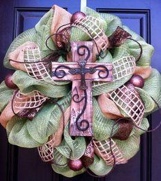 Rustic Cross Mesh Wreath - Moss Green Mesh and Burlap with Cross Wreath - Easter Cross Wreath-Spring Wreath. $85.00, via Etsy.